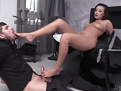Brunette MILF Alyssia Kent rides a cock while playing with her feet