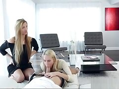 Babysitter Cadence Lux Threesome Session On The Couch