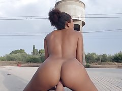 Ebony girl takes good care of an over sized cock