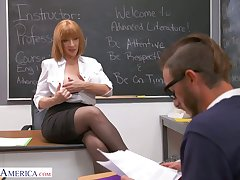 Perfectly shaped busty teacher Sara Jay seduces four be proper of an obstacle students