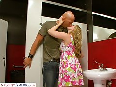 Crazy quickie with naughty blonde Sunny Lane all over a invoke occasion restroom