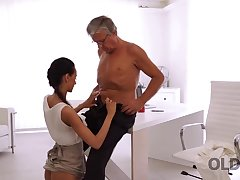 Incredible old and young sex happened germane in hammer away office