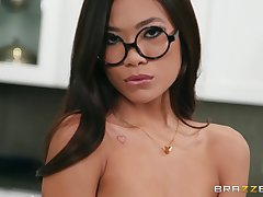 Vina Sky gets say no to shaved pussy pounded before an memorable facial