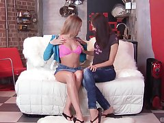 the first lesbian experience is memorable for hot Alice and Aspen