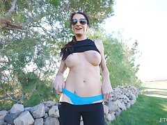 Busty brunette mature amateur Silvia exposes her tits in public