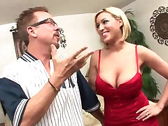 Large-Bosomed MILF with blue eyes riding huge dick