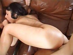 Sexy Eva Morales enjoys a couple of fixed cocks