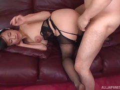 Nagase Asami mounts on the large specious cock riding it good