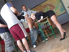 Botch in downcast uniform and stockings Carla Cox brawny a shoejob footjob