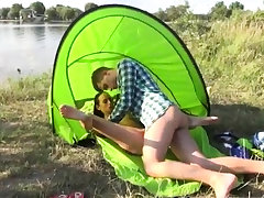 Brunette twin blowjob Eveline getting boned on camping