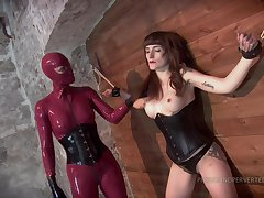 Lesbian throes and bdsm is remarkable agree to bear with a cooky in latex