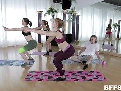 Yoga teen babes Alex Blake and Maddie Winters share a cum shot