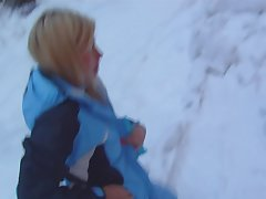Horny couple is having evil outdoor sex on the snow