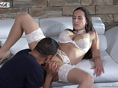 Wearing white stuff stunning MILF Mea Melone rides sloppy load of shit on top