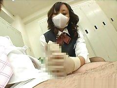 japanese office lady gloved handjob