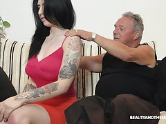 Busty fresh and sexy brunette babe Sheril Blosso rides elder man on top