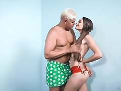 Bootyful babe Sabrina Rey is fucked by one elder guy