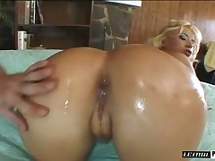 Reprobate whore warms up her anus with a dildo before being analfucked