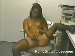 Long haired Asian doctor strips and masturbates in her office